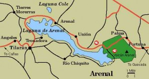 Costa Rica weather - Lake Arenal map