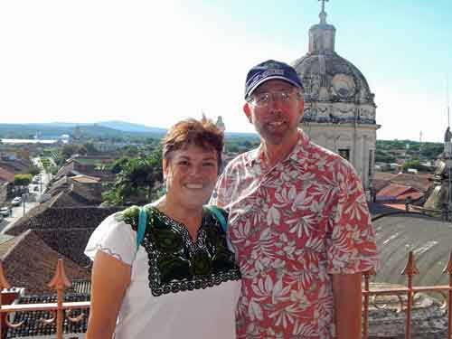 Us, at the top of the La Merced Church bell tower