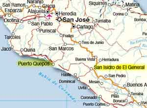 Costa Rica weather - Quepos & San Isidro de General map