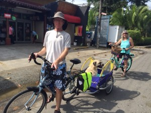 Joe, Marley, and Bonnie getting around Puerto Viejo