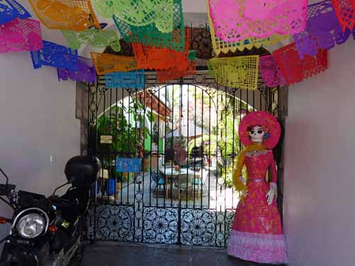 Mexico-Our hotel in Oaxaca, getting ready for Day of the Dead